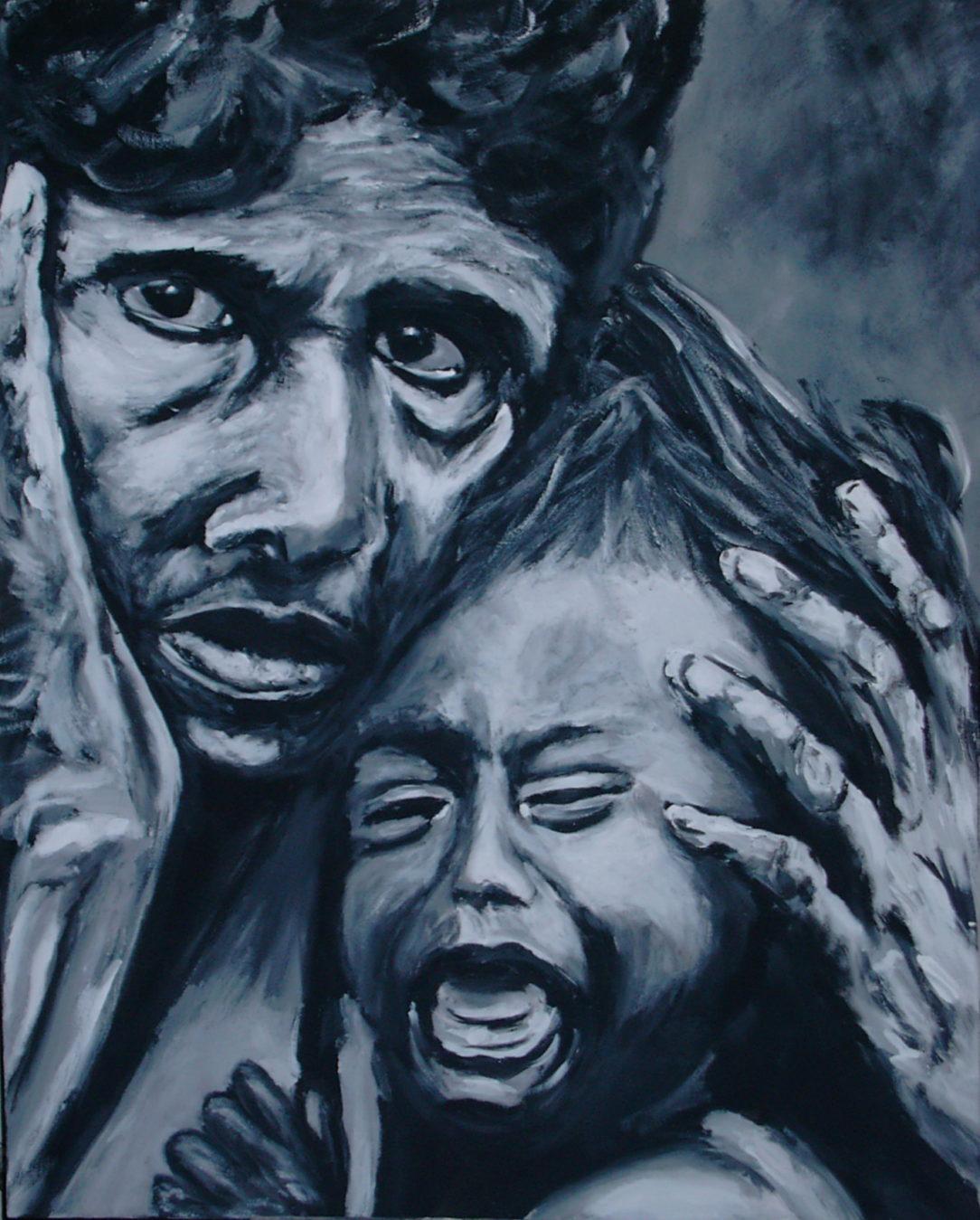 88 Mère et fille - Solitude - Jérôme Muller Peinture