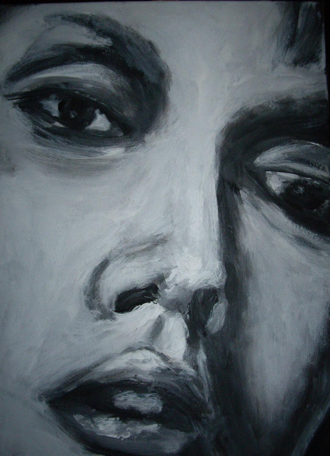 98 Visage femme - Solitude - Jérôme Muller Peinture